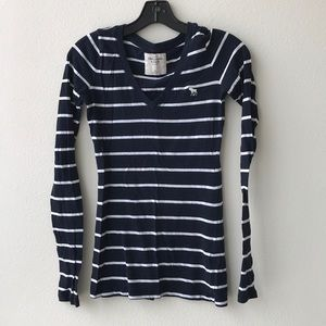 Abercrombie Blue White Striped Long Sleeve